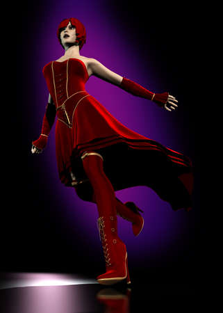 Realistic running 3D woman with fantasy red hairs and red dress photo