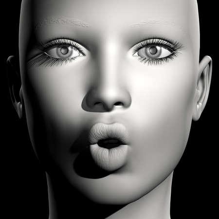 pucker: 3D woman monochrome portrait with face expression (lips pucker)