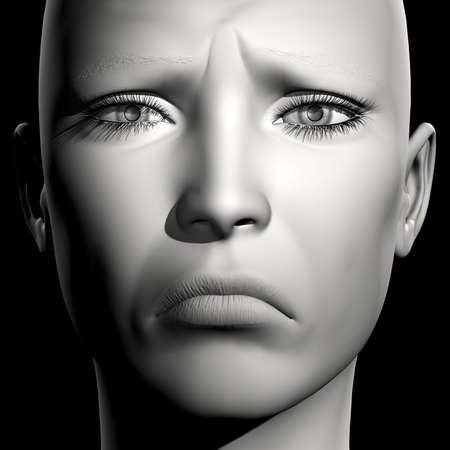 3D woman monochrome portrait with face expression (sadness) Zdjęcie Seryjne