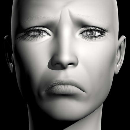 3D woman monochrome portrait with face expression (sadness) Stock Photo
