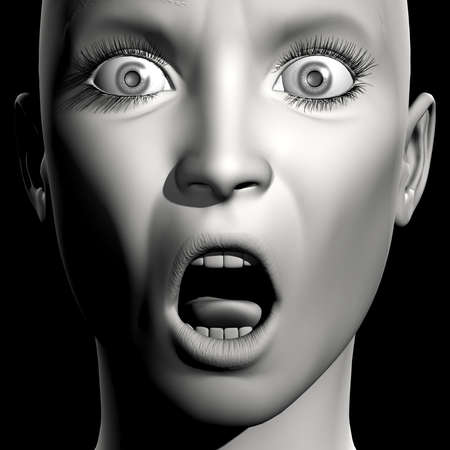 opened mouth: 3D woman monochrome portrait with face expression (surprise)