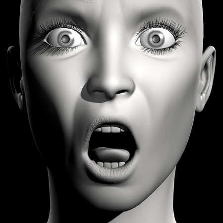 face close up: 3D woman monochrome portrait with face expression (surprise)