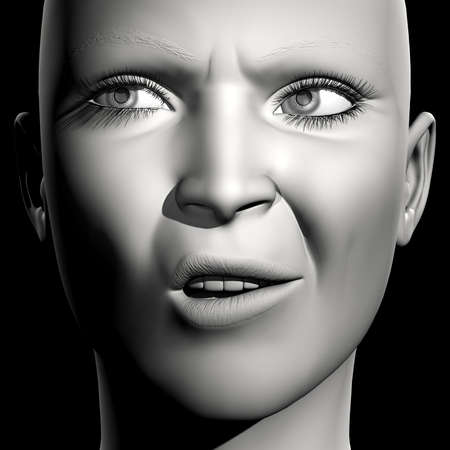 3D woman monochrome portrait with face expression