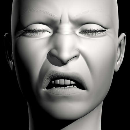 closed mouth: 3D woman monochrome portrait with face expression