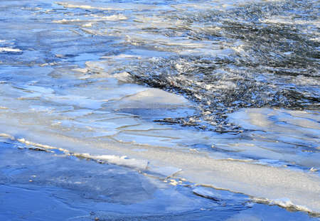 Cracked chaotic blue ice float in winter Stock Photo - 7369535