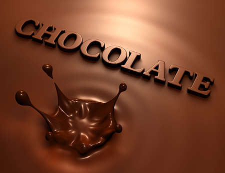 3D render of simple chocolate splash and inscription Stock Photo