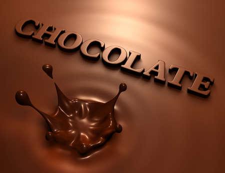 Procesamiento 3D de salpicaduras chocolate simple e inscripción