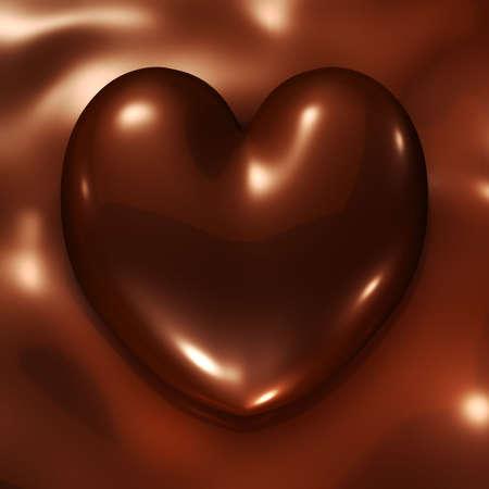 chocolate melt: Il rendering 3D di cuore semplice di cioccolato con sfondo di cioccolato  Archivio Fotografico