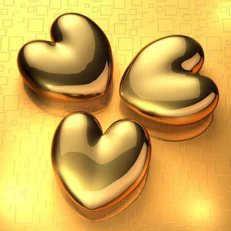3D render of three golden hearts on golden background Stock Photo