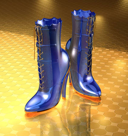3D render of blue boots on golden floor photo