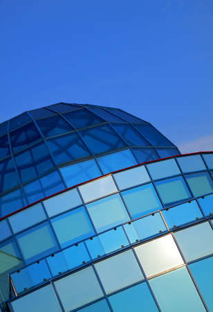 hemispherical: Modern architecture with blue stained glass dome roof