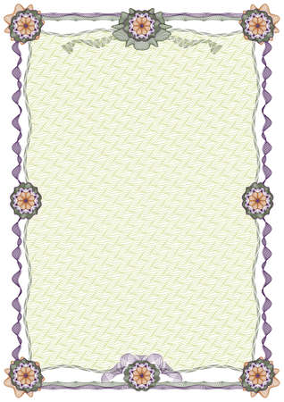 Decorative blank guilloche border with grid in background, stripes and rosettes for diploma or certificate photo