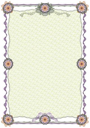 rosaces: Fronti�re d�coratifs guilloch� vierge avec grille en arri�re-plan, rayures et rosettes de dipl�me ou certificat