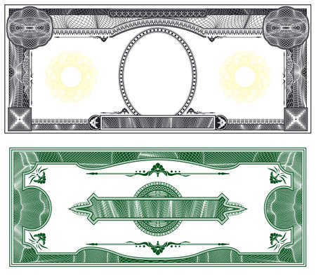 filagree: Blank banknote layout with obverse and reverse based on dollar bill Stock Photo