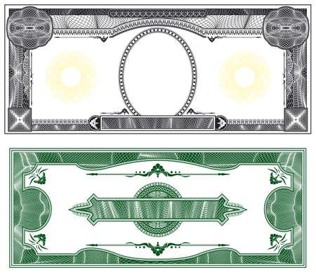 factura: Dise�o de billete en blanco con el anverso y reverso basado en proyecto de ley de d�lar  Foto de archivo