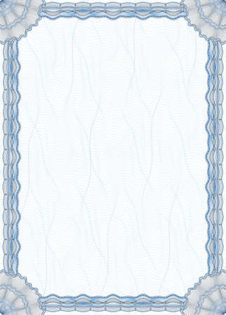 filagree: Blank guilloche border and pattern suitable for diploma or certificate Stock Photo