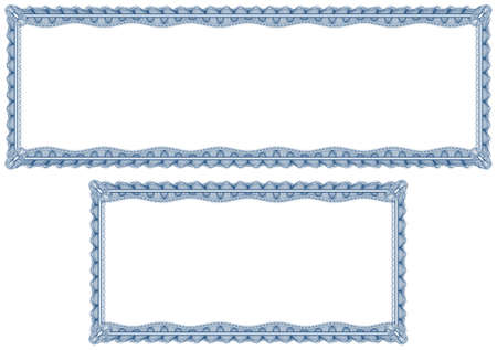 Two blank guilloche border for diploma or certificate with proportion 3:1 and 2:1