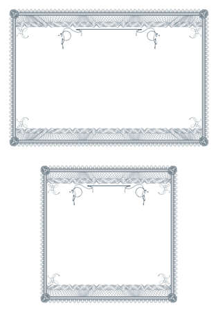 filagree: Two blank guilloche border for diploma or certificate with proportion 2:1 and 1:1 Stock Photo