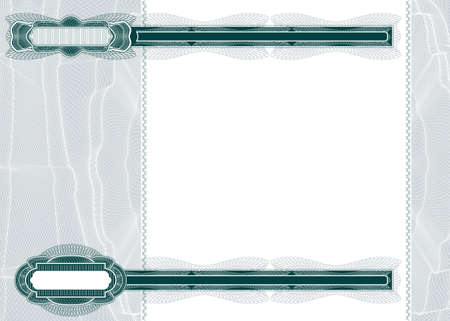 Blank layout with guilloche pattern suitable for banknote, voucher, bank check, stock certificate or guarantee photo