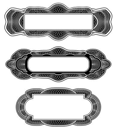 etching pattern: Set of three guilloche design elements with frame and rosette Stock Photo