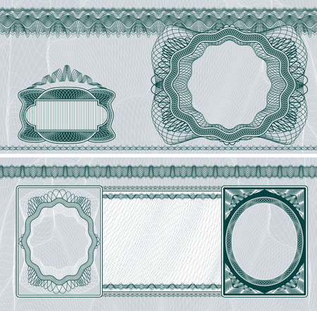 bank note: Blank layout for banknote, bank check or voucher with obverse and reverse