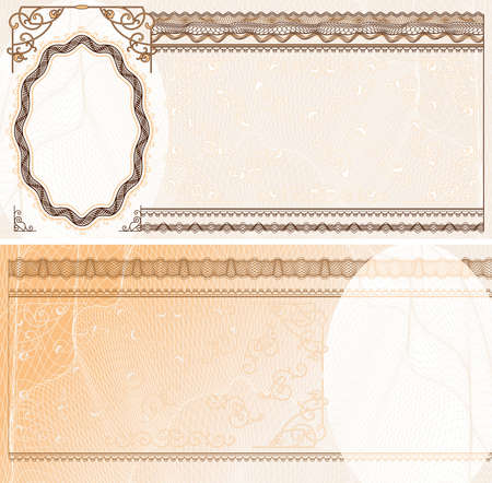 credentials: Blank layout for banknote, bank check or voucher with obverse and reverse