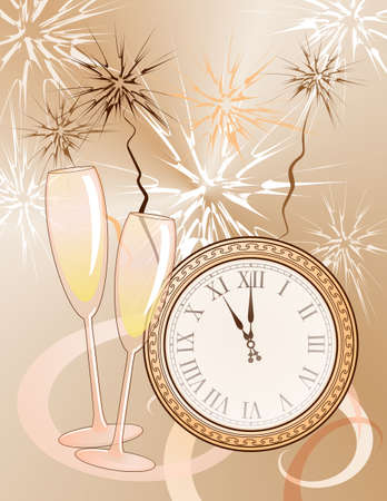 New years background with clock and champagne flutes
