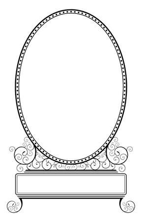 Simple oval frame illustration with spiral floral motive