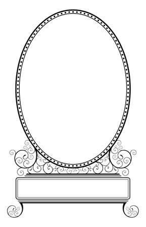 Simple oval frame illustration with spiral floral motive