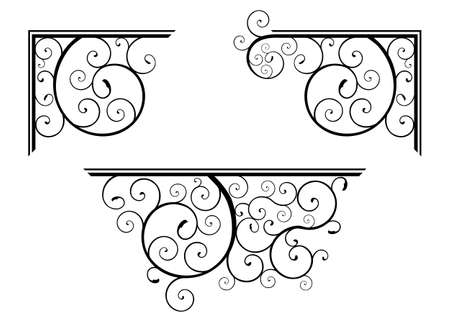 Set of classic spiral floral design elements for corner and border Stock Photo
