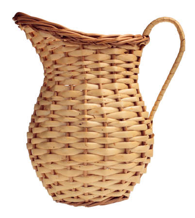 wickerwork: Wicker pitcher isolated on the white background Stock Photo
