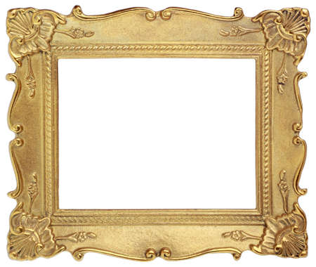 Golden picture frame isolated on a white background
