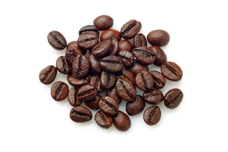 robusta: Pile of coffee beans (Robusta coffee) over white background. Overhead view.