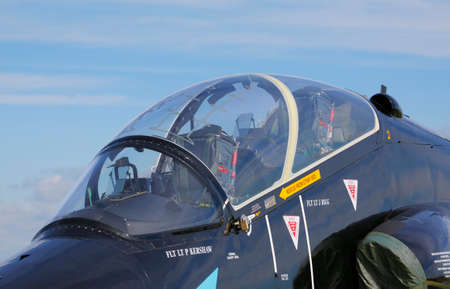 royal air force: The Royal Air Force (RAF) British Aerospace Hawk T.1A canopy and cockpit during International Air Show at the 90th Jubilee of The Polish Air Force Academy The School of Eaglets. Deblin, Poland, 20th June 2015.