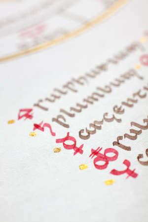 Detail of a handwritten alchemical symbols. Uncial latin script.