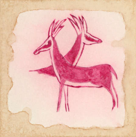 parietal: Two antelopes. Primitive drawing inspired by ancient parietal art from Sahara. Red ink on aged paper.