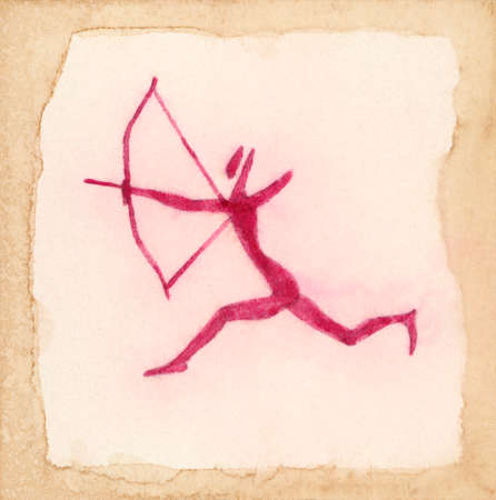 parietal: Running hunting archer. Primitive drawing inspired by ancient parietal art from Sahara. Red ink on aged paper. Stock Photo
