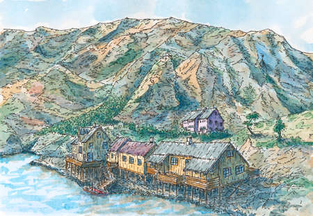 Village in fjord, Lofoten Islands, Norway. Sketch ink lines and watercolor on paper.