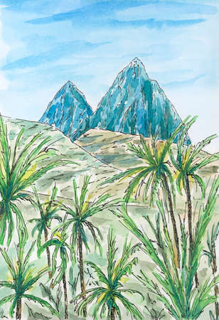 Caribbean (Leeward Antilles) landscape with two mountain peaks. Ink and watercolor on rough paper.