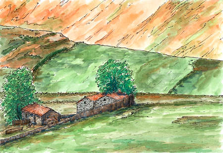 Scottish hills and farm in late summer. Ink and watercolor on rough paper. Reklamní fotografie
