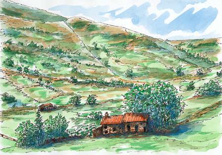 trabajo manual: Colinas escocesas y granja. Tinta y acuarela en papel rugoso.