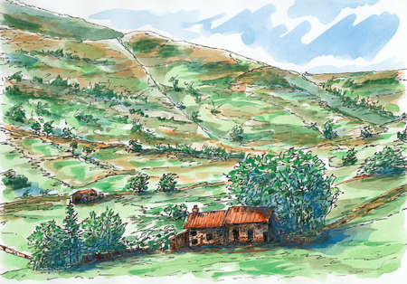 Scottish hills and farm. Ink and watercolor on rough paper.