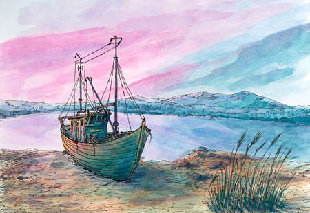 Small sea bay and fishing boat. Ink and watercolor on rough paper.