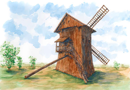 Post mill (earliest type of European windmill). Ink and watercolor on rough paper.