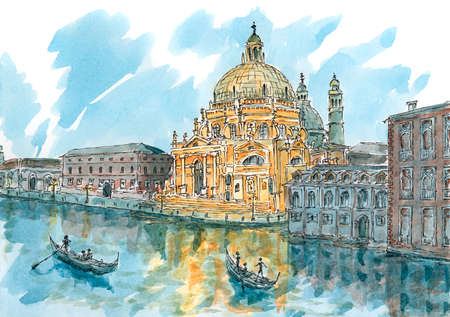 Venice (Veneto region, Italy) at dusk. Ink and watercolor on rough paper.