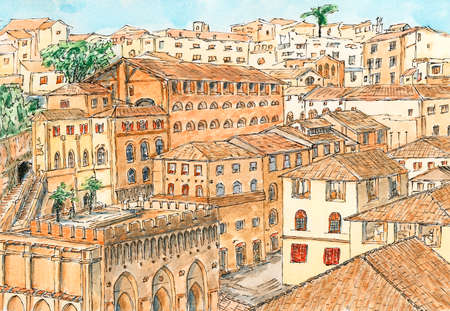 Siena (Tuscany, Italy) ancient city architecture. Ink and watercolor on rough paper.
