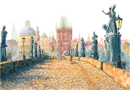 Charles Bridge (Prague, Czech Republic). Ink and watercolor on rough paper.