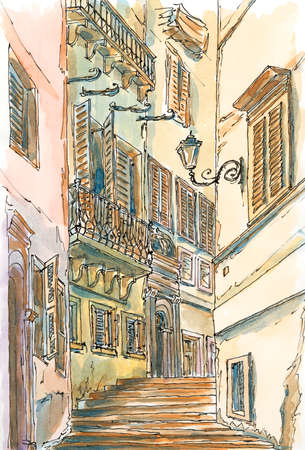 Old street of Rome. Ink and watercolor on rough paper.