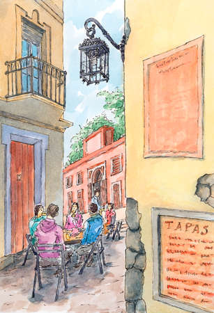 Spanish old street with seated persons. Ink and watercolor on rough paper. Reklamní fotografie