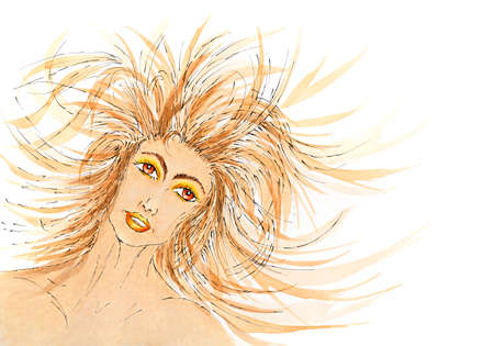 Woman portrait with hair blowing in the wind. Ink, gouache and watercolor on rough paper.